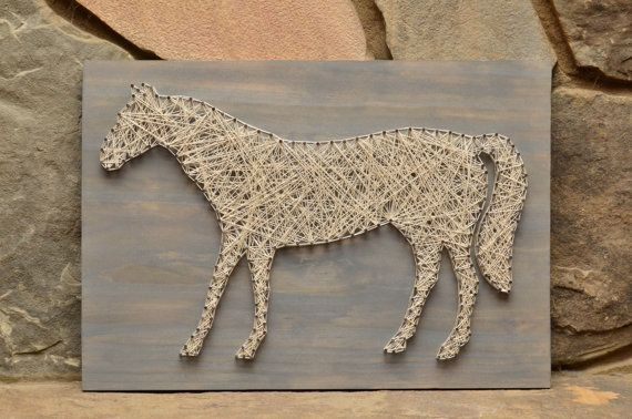 Wood Horse String Art Handmade Country Home by HannahMcEntireArt