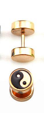 Yin Yang rose gold or black fake plug gauge earrings
