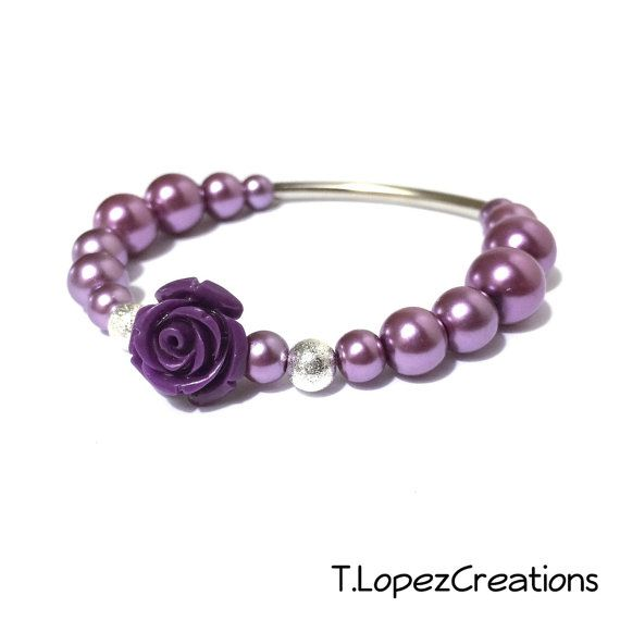 Metallic Purple Glass Pearls amd Flower with a by TLopezCreations