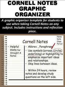 cornell notes graphic organizer mz s english teacher teachers
