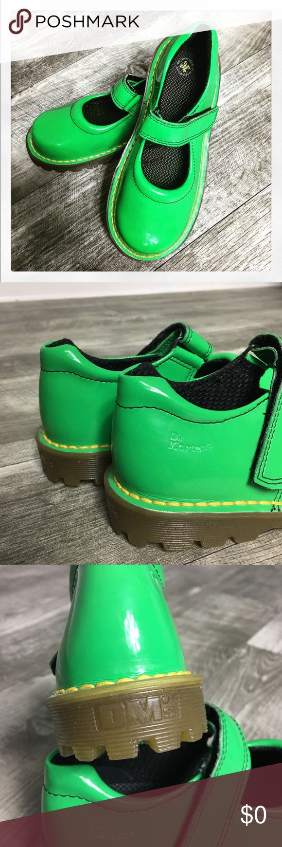 Dr. Martens Patent Leather Mary Jane Shoes. Dr. Martens Patent Leather Mary Jane Shoes. Velcro strap. Bright green color. In good preowned condition. ***Small black mark on inner right heel area. See photos.*** I have not tried to shine or clean these. Dr. Martens Shoes
