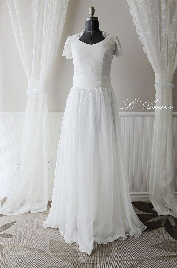 Custom Beach Style Floor Length Cotton Wedding Dress with by LAmei