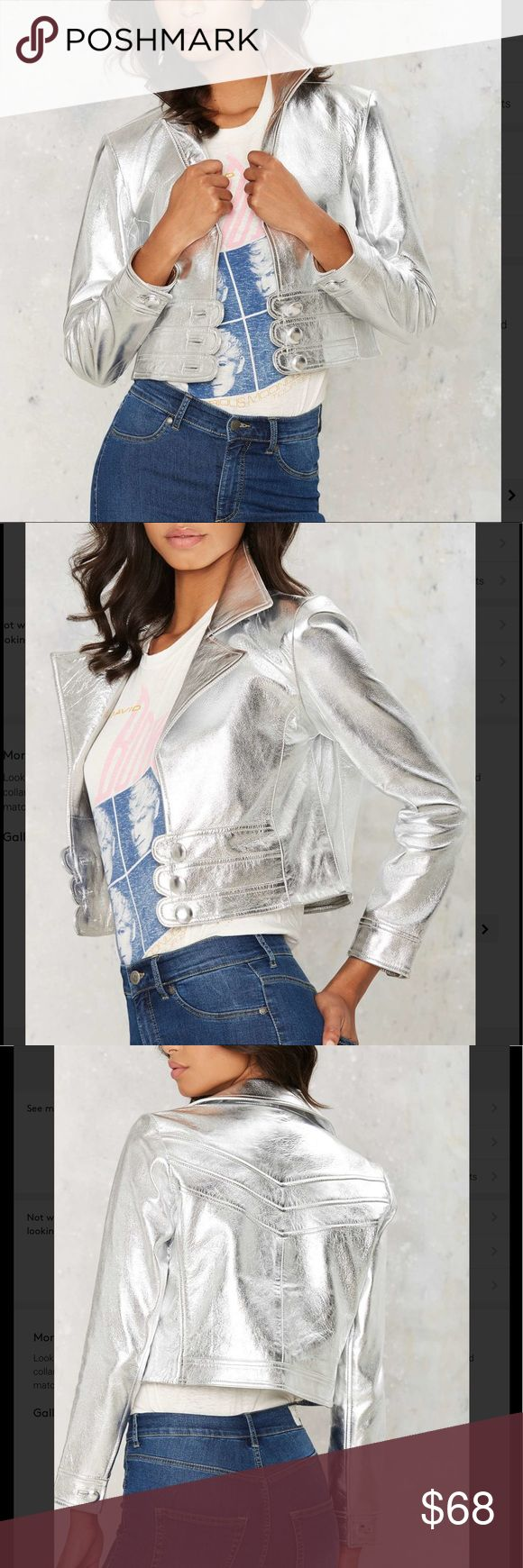 Rack🔟🆕💗 jerry metallic jacket Look fresh out of the Factory. The Jerry Jacket is made in metallic silver leather and features a notched collar, leather panels with button closures at front, and button at sleeves. Fully lined. Pair it with the matching Jerry Skirt for full effect or wear it with wide leg pants for an equally amazing look. By Nasty Gal. Leather. Runs true to size. Dry clean only. California Residents: Proposition 65. Color: metallic Nasty Gal Jackets & Coats