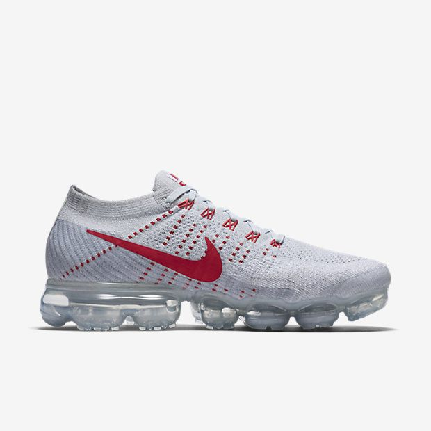 5c1cd580a4 Nike Air VaporMax 2018 Flyknit White Gray Red Tick (36-45) | Nike ...
