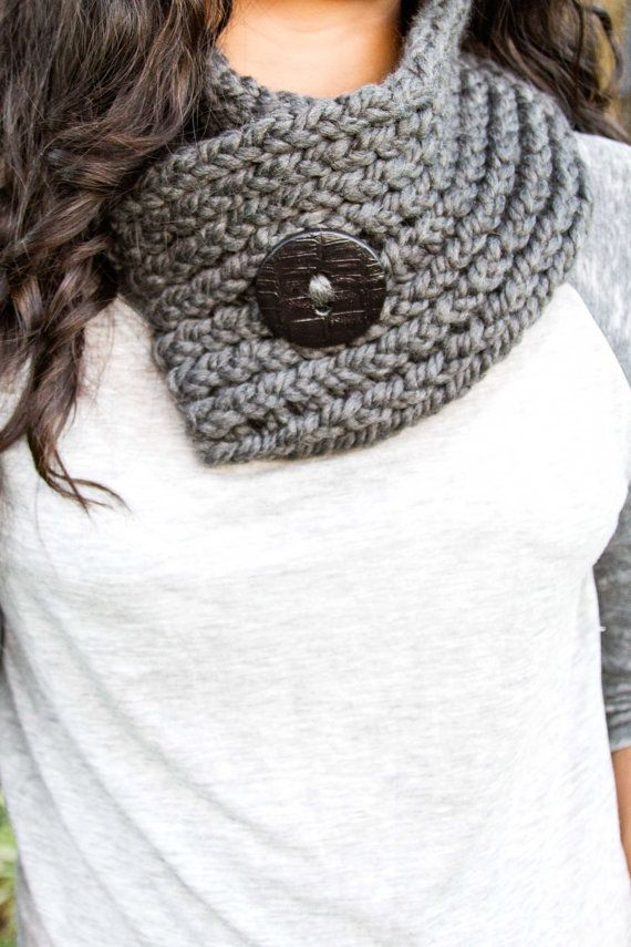 Grey Fashion Knit Scarf