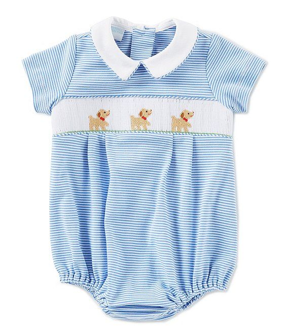 Baby Boy Blue Creeper with Hand Smocked Shadow Trains Design