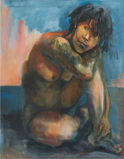 Schilderij 'Dolores'. 80 x 100 cm € 2.495,- De prachtvrouw Dolores Leeuwin, oa bekend van het jeugdjournaal, stond model voor dit schilderij.