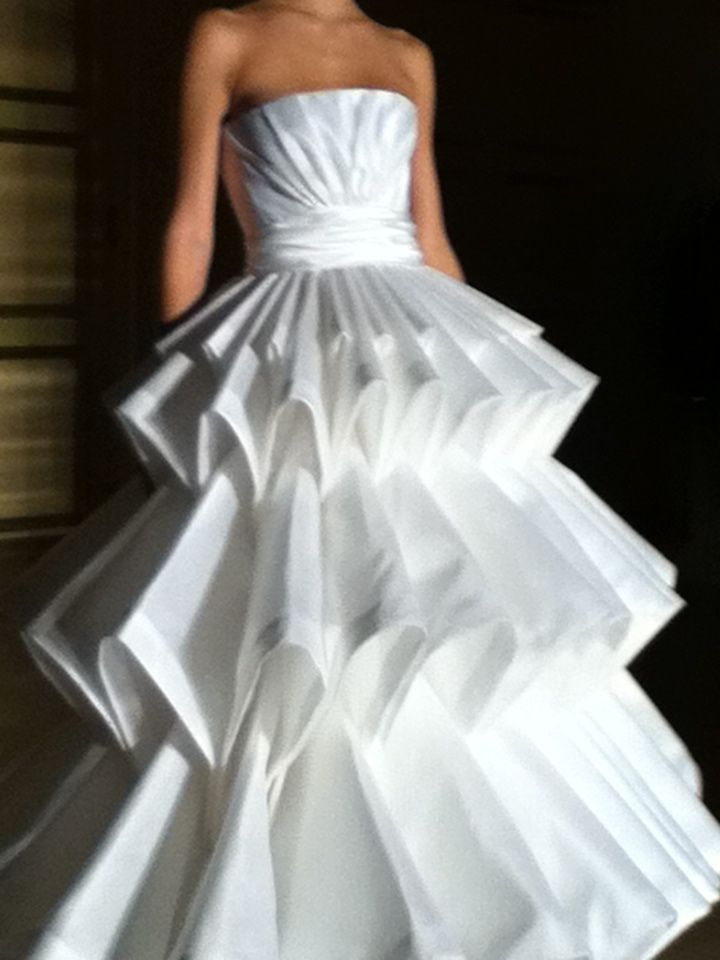 Ugly Wedding Dresses  origami gown front view white satin organza strapless panier ball gown