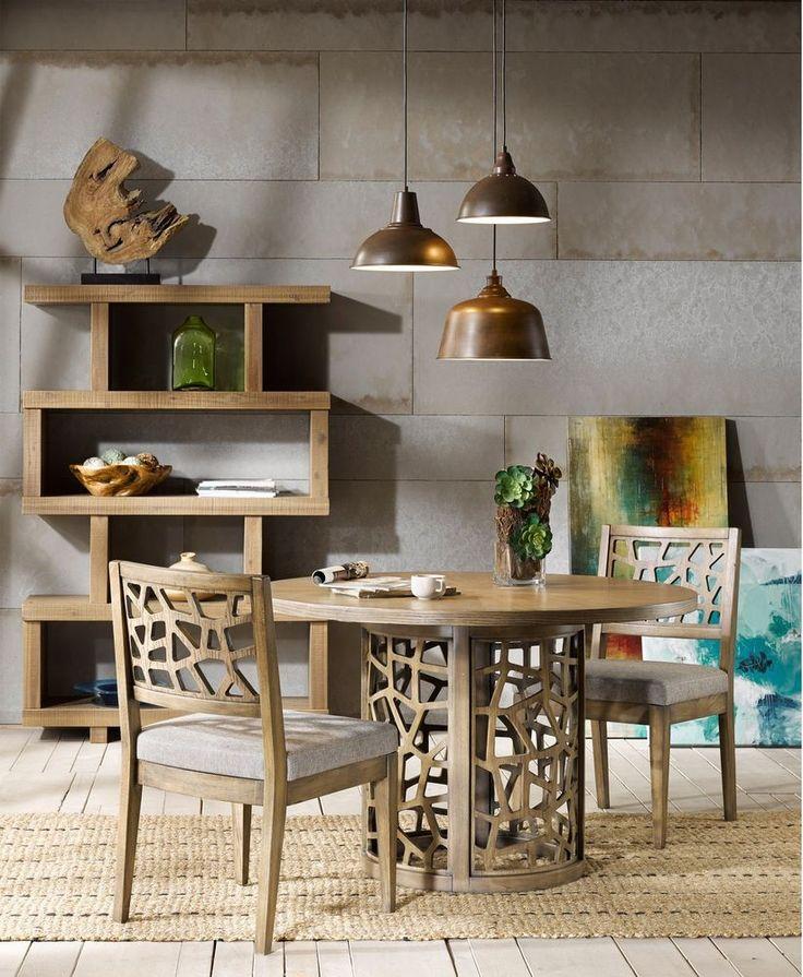 Modern Dining Table Round Acacia Wood Transitional Oak Veneer Furniture New #InkandIvy #ModernTransitional #Dining #Table #Furniture #Home