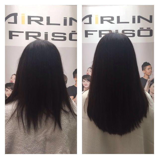 Vorher/Nachher - Haarverlängerung mit braunen Extensions von @greatlengths | #extensions #haarverlängerung #brownhair #braunehaare