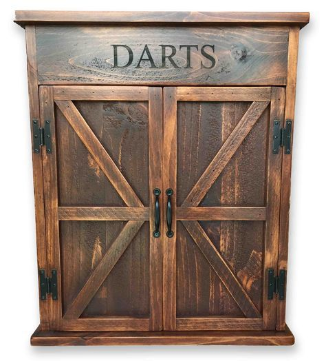 Premium Reclaimed Wood Dart Board Cabinet Basement