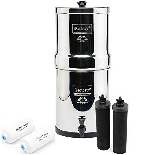 Big Berkey BK4X2 Countertop Water Filter System with 2 Black Berkey Elements and 2 Fluoride Filters - INCLUDES: Big Berkey stainless steel housing (Upper, Lower & Lid), 2 Black Berkey Filters, 2 Fluoride Elements, 2 Hole Plugs, 1 knob, 1 easy flow spigot, and 1 set of easy to follow assembly instructions. When drinking water that's been filtered using a Berkey purifier, you can rest assured that ...
