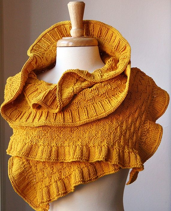 Yellow sweater-shawl