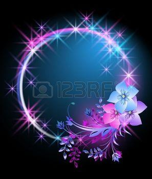 feu d artifice FLEUR: Arrière-plan éclatant avec des fleurs et des étoiles