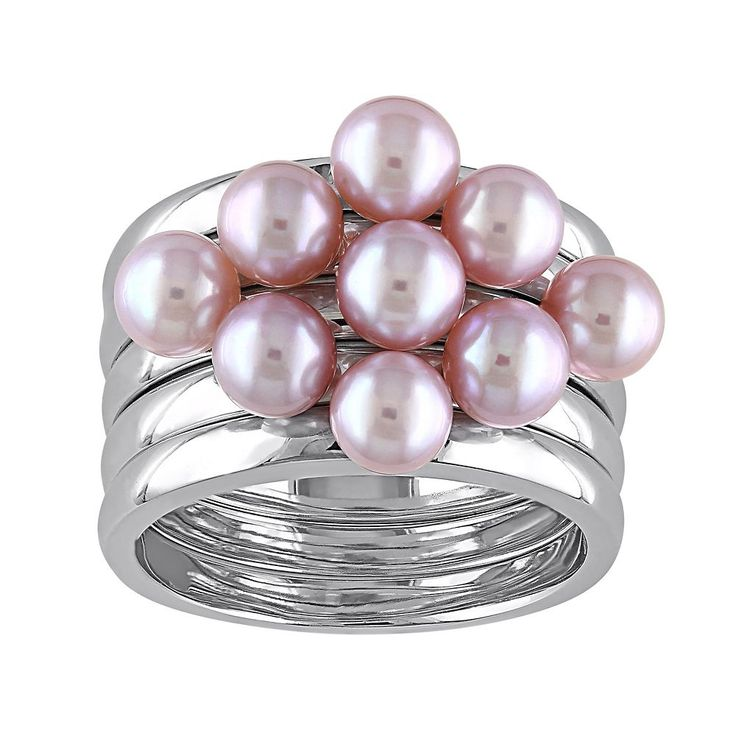 Freshwater Cultured Pearl Sterling Silver Ring Set, Women's, Size: 7, Pink