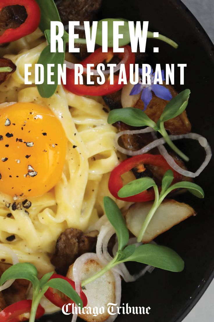 Chicago's Eden restaurant: Pictured is tajarin pasta, featuring thin egg noodles tossed with wood-grilled trumpet mushooms and sunchokes, perked up by fresno chiles and pickled shallots and crowned with a raw egg yolk.
