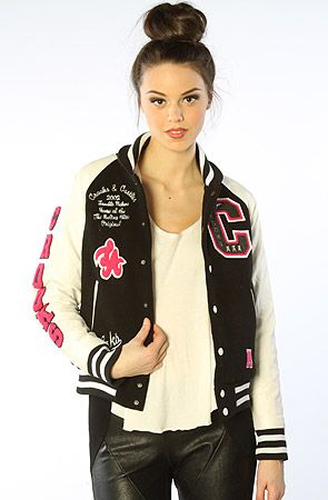 Crooks and Castles The CRKS Squad Letterman Varsity Jacket in White Black : MissKL.com - Cutting Edge Women's Fashion, Accessories and Shoes. #MissKL #WinYourPin