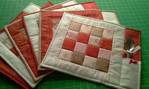 PDF Pattern for 6 Quilted Placemats, Coasters and a Coasters Holding Basket (Level: Advanced Beginner)