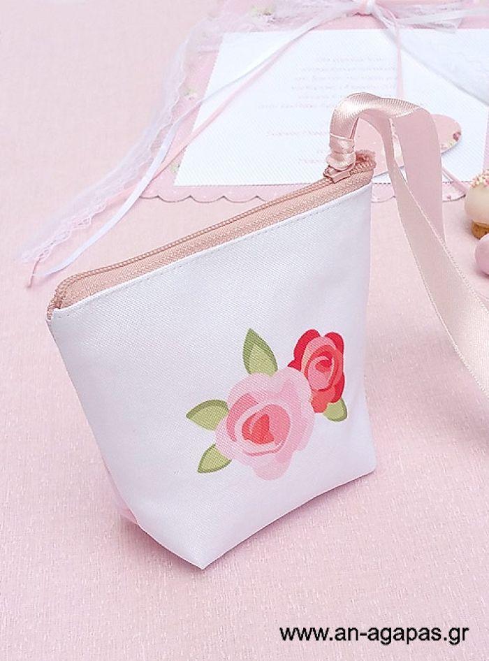 Μπομπονιέρα βάπτισης πορτοφολάκι δίχρωμο Blossom in Pink | an-agapas.gr