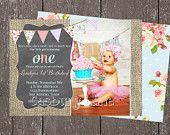 1er cumpleaños chica Vintage invitación Vintage foto invitan a primer cumpleaños partido arpillera invitar Casbury Lane