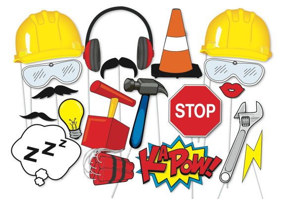 Construction Photo booth Party Props Set 20 Piece PRINTABLE