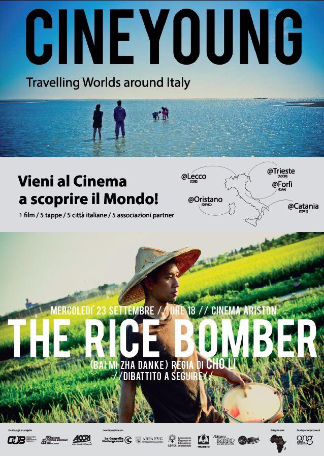 """#CINEYOUNG è un #progetto itinerante grazie al quale il #COE, in partenariato con #ONG della àFOCSIV, organizza in 5 città italiane un #evento cinematografico presentando il film """" #TheRiceBomber"""". A #Trieste il partner del progetto è l' #ACCRI."""