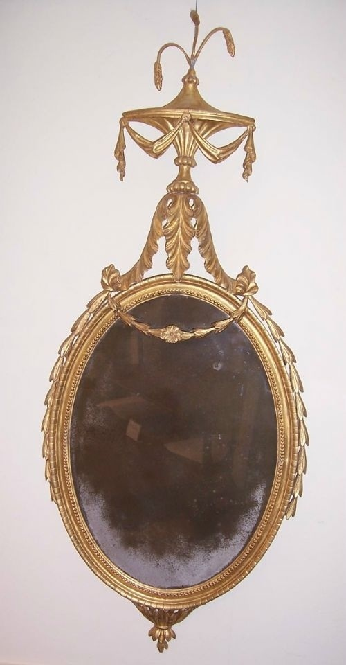 """Beautiful Geo III Carved Giltwood & Gesso Mirror ornamented with husks and wheat ears, with original glass and gilding, circa 1785, 17 1/4"""" x 40"""", NOW SOLD"""