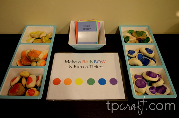 Make a rainbow (using painted rocks, each with a different chore, job, activity on the back) and earn a ticket (to do something special with mom or dad)- LOVE this idea for summer!