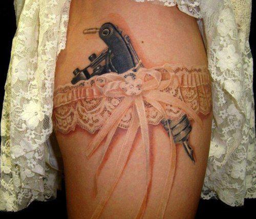 .Garter Tattoos, Guns Tattoo, Tattoo Artists, A Tattoo, Garters Tattoo, Lace Tattoo, Garters Belts, Tattoo Guns, White Ink