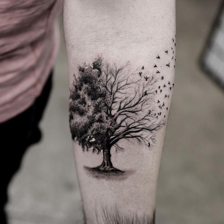 Disenos A Negros De Tatuajes De Arboles Con Aves Tatuaje De Arbol Para Hombres Tatuaje Arbol De La Vida Disenos De Tatuajes Para Hombres
