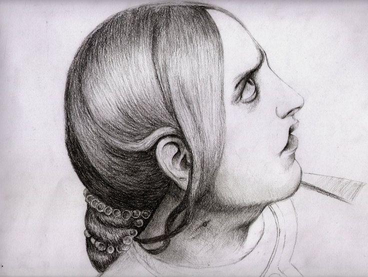 Perfil femenino. Curso de dibujo Julien.