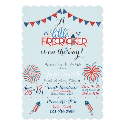 patriotic baby shower 5x7 paper invitation card