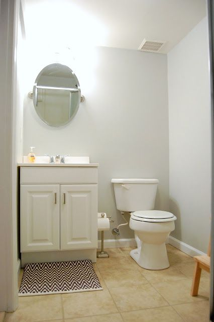 Basement bathroom with light gray blue walls...mix of Behr's Sterling and Dolphin Fin