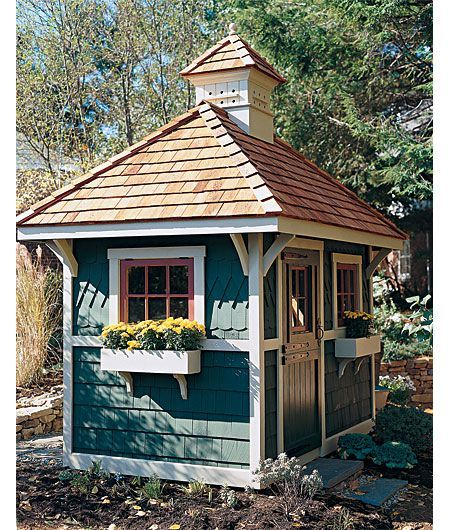 "From the timeless and timely ""This Old House"" Magazine, in it's March, 2002 issue, this attractive potting shed prompted one reader to make it the very first project she ever built. She left off the cupola, but otherwise it was almost a perfect match. Now that's inspiration! I definitely don't think of this as a beginner project, but good for her for doing it!"