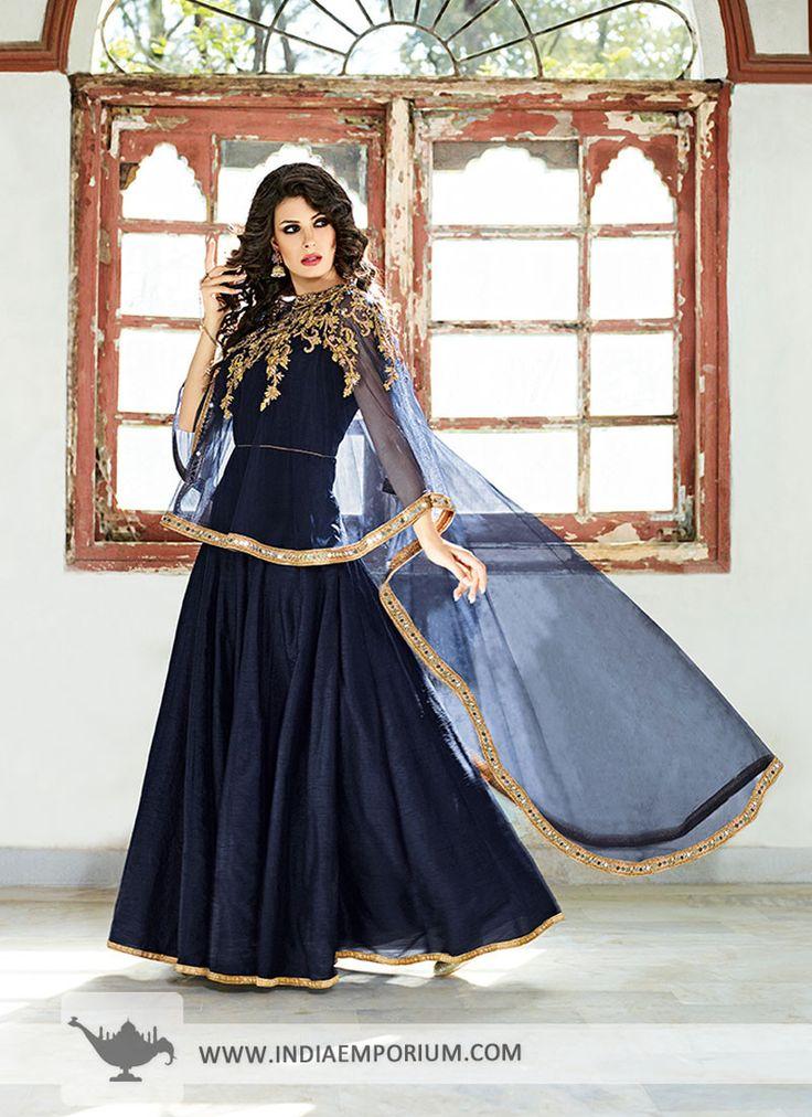 Enviable Navy Blue Cape Style Zardosi Work Anarkali Suit