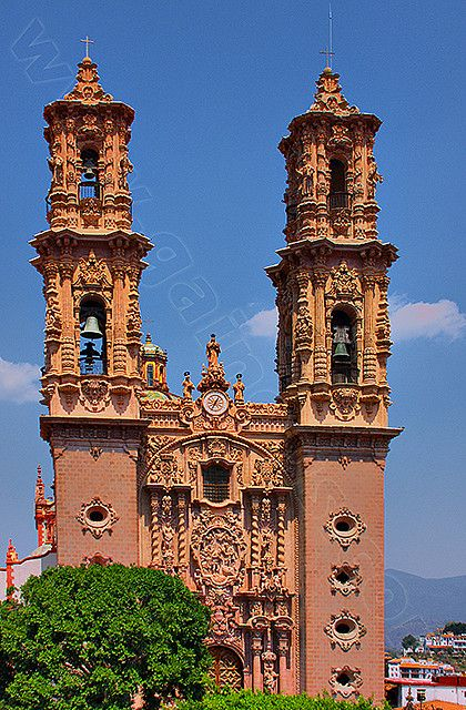 Santa Prisca Church . Taxco Mexico.  Globe Travel in Bristol, CT is standing by to make your vacation dreams come true!  Reach us at 860-584-0517 or by email at info@globetvl.com!
