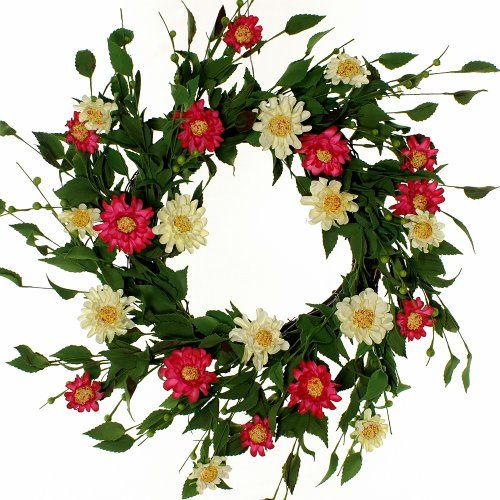 Wreath of Pink and White Zinnia Flowers on Grapevine, 18 bloom $39.00