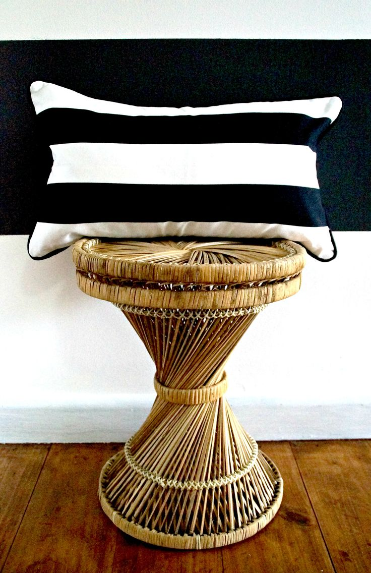 """Add some monochromatic to your home or office with this classic black and white striped cushion cover. Made from high quality medium weight cotton. Fully over locked with an invisible zip and double sided and black piping. Only 1 available.  50x30cm  """"Seen on Bohemian Traders' &  'The Beetle Shack""""  Cushion cover only. Insert is not included. FREE postage Australia wide."""
