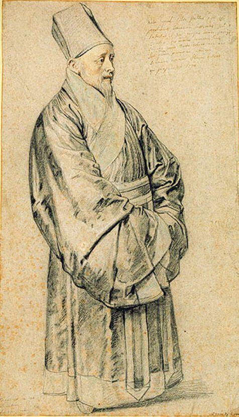 Nicolas Trigault en costume Chinois, pastel de Pierre Paul Rubens. La fin de la dynastie Ming vit l'arrivée des premiers missionnaires jésuites européens comme Matteo Ricci et Nicolas Trigault. D'autres ordres chrétiens comme les dominicains et les franciscains s'implantèrent également en Chine