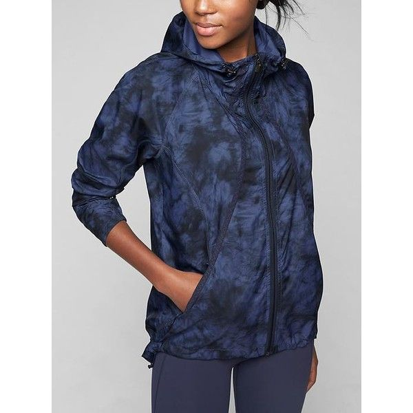 Athleta Women Tie Dye Catalina UPF Jacket ($138) ❤ liked on Polyvore featuring activewear, activewear jackets, navy, athleta and athleta sportswear