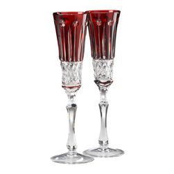 blown glass champagne flutes red crystal mouthblown and handcut cased - Crystal Champagne Flutes