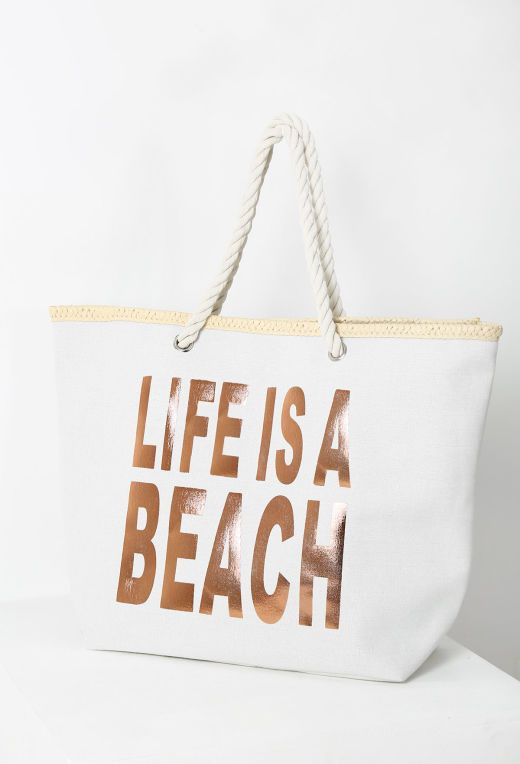 Island Beauty Cream and Rose Gold Printed Beach Bag | Pink Boutique