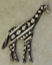 Wooden Giraffet Hand painted Can be ordered as a Xmas Decoration, Key ring. Fridge Magnet or a Scarf Clip.
