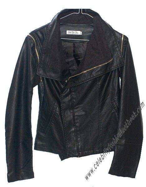 Biker Style Leather Jacket - #rockstar #celebrityfashion #leatherjacket #kimstyle