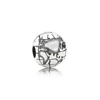 World Explorer Globe Silver Clip Charm - PANDORA