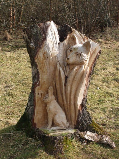 Sculpture of Fox and Rabbit by ronnie leask, via Geograph