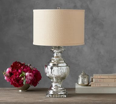 Jamie Young Antique Etched Mercury Table Lamp - Base features double-walled blown glass etched w/ fine detail & antiqued by hand. Transitional lamp.