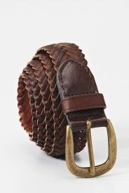 Leather Weave Belt - Brown