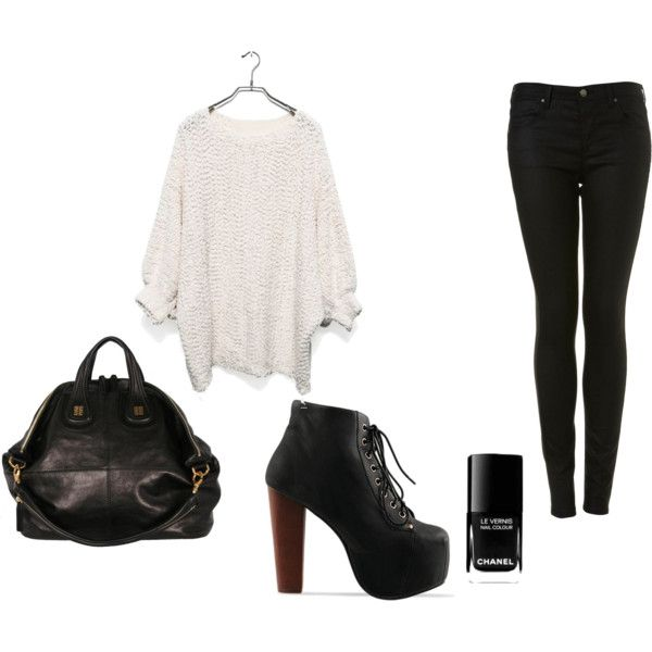 Litas, black and white. love this entire outfit and WANT those Jeffrey Campbell litas