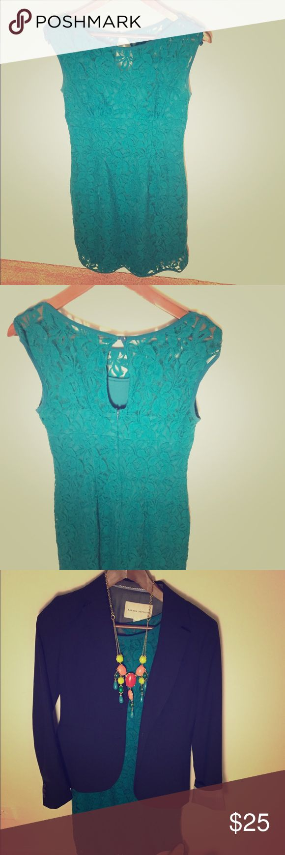 Green lace Cynthia Rowley Dress Lace, cap sleeve green dress by Cynthia Rowley. Above knee length. Spaghetti strap style slip lining. Beautiful vibrant green color perfect for a summer wedding with strappy heels and chandelier earrings or with a blazer and necklace for work. Back zip and button closure. Ships from smoke free, pet free home. Cynthia Rowley Dresses